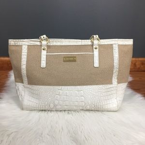 Brahmin white leather and tan canvas purse